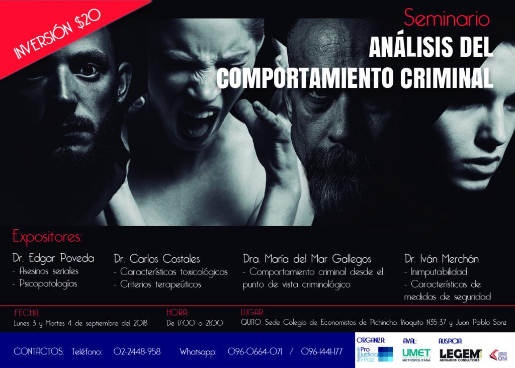 5859d0057 La Universidad Metropolitana del Ecuador tiene el agrado de invitarle al  Seminario Análisis del Comportamiento Criminal, organizado por la Fundación  Pro ...